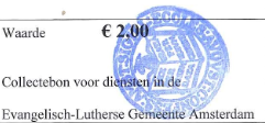 Collectebonnen €2,00 x 10 = €20,00